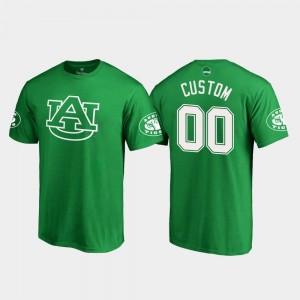 Auburn Tigers Custom T-Shirts Kelly Green St. Patrick's Day #00 Men White Logo