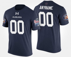 Auburn Tigers Customized T-Shirt Bowl Game Mens #00 Navy Peach Bowl