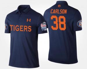 Auburn Tigers Daniel Carlson Polo #38 Bowl Game Peach Bowl Navy For Men