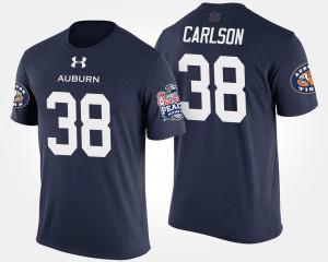 Auburn Tigers Daniel Carlson T-Shirt For Men #38 Peach Bowl Navy Bowl Game
