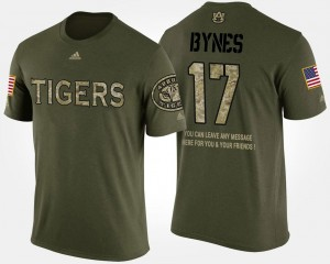 Auburn Tigers Josh Bynes T-Shirt For Men #17 Military Short Sleeve With Message Camo