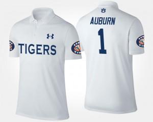 Auburn Tigers Polo For Men's #1 No.1 Short Sleeve White