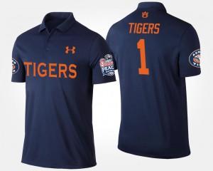 Auburn Tigers Polo No.1 Peach Bowl Navy Bowl Game #1 Mens
