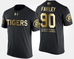 Auburn Tigers Nick Fairley T-Shirt #90 Black For Men Short Sleeve With Message Gold Limited