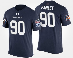 Auburn Tigers Nick Fairley T-Shirt For Men's #90 Navy Bowl Game Peach Bowl