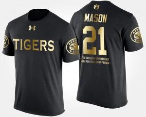 Auburn Tigers Tre Mason T-Shirt #21 Gold Limited Men's Black Short Sleeve With Message
