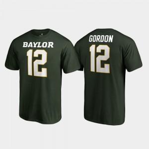 Baylor Bears Josh Gordon T-Shirt Green Name & Number College Legends #12 For Men's