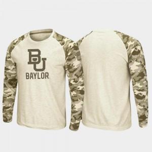Baylor Bears T-Shirt Raglan Long Sleeve Desert Camo Oatmeal OHT Military Appreciation Mens