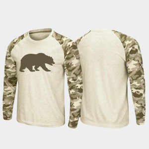 California Golden Bears T-Shirt Mens Raglan Long Sleeve Oatmeal OHT Military Appreciation