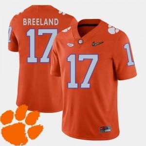 Clemson Tigers Bashaud Breeland Jersey Orange #17 2018 ACC Men's College Football