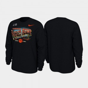 Clemson Tigers T-Shirt Men Illustrations Long Sleeve 2019 Fiesta Bowl Bound Black