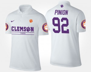 Clemson Tigers Bradley Pinion Polo #92 White Men