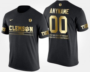 Clemson Tigers Custom T-Shirts #00 Men's Black Short Sleeve With Message Gold Limited