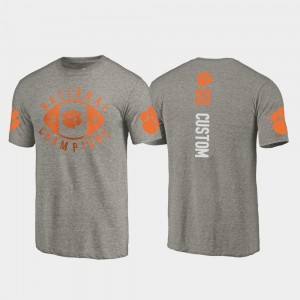 Clemson Tigers Custom T-Shirts College Football Playoff Gray 2018 National Champions For Men's #00