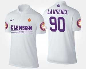Clemson Tigers Dexter Lawrence Polo White #90 For Men's