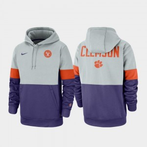Clemson Tigers Hoodie Therma Performance Pullover For Men's Gray Purple Rivalry