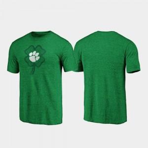 Clemson Tigers T-Shirt St. Patrick's Day Green For Men Celtic Charm Tri-Blend