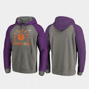 Clemson Tigers Hoodie Heather Gray College Football Playoff Lateral 2018 National Champions For Men