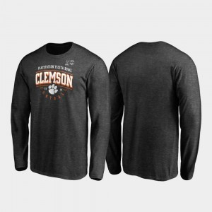 Clemson Tigers T-Shirt For Men's Heather Gray Tackle Long Sleeve 2019 Fiesta Bowl Bound