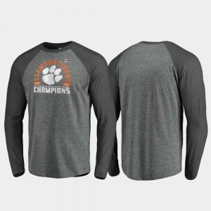 Clemson Tigers T-Shirt Offensive Long Sleeve Raglan 2019 Fiesta Bowl Champions Heather Gray Mens