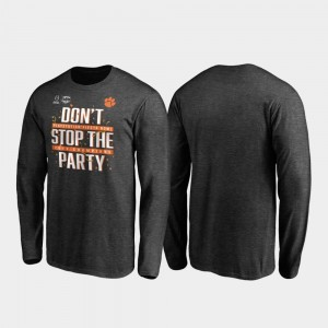 Clemson Tigers T-Shirt Receiver Long Sleeve College Football Playoff 2019 Fiesta Bowl Champions Heather Gray For Men