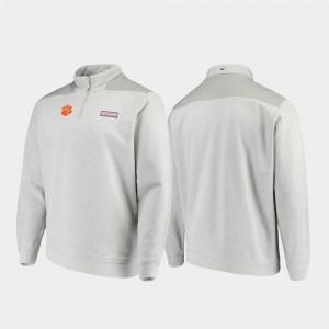 Clemson Tigers Jacket Quarter-Zip Heathered Gray For Men's Shep Shirt