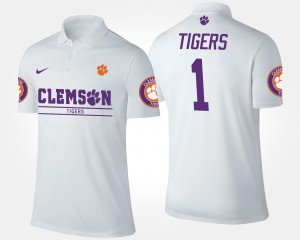 Clemson Tigers Polo For Men White #1 No.1 Short Sleeve