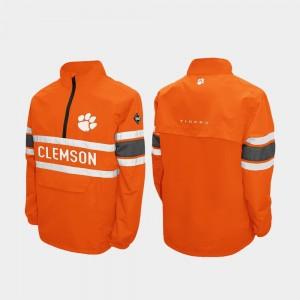 Clemson Tigers Jacket Quarter-Zip Mens Alpha Windshell Pullover Orange