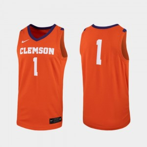 Clemson Tigers Jersey Replica #1 Orange Men College Basketball