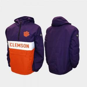 Clemson Tigers Jacket Purple Half-Zip Alpha Anorak Pullover Men