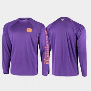 Clemson Tigers T-Shirt For Men Omni-Shade PFG Terminal Tackle Long Sleeve Purple