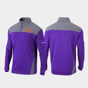 Clemson Tigers Jacket Quarter-Zip Pullover Omni-Wick Standard Purple For Men's