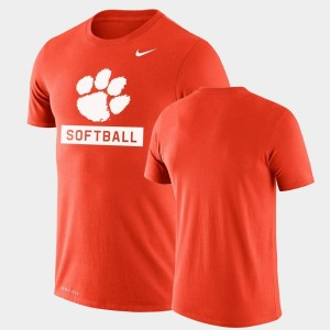 Clemson Tigers T-Shirt Orange Mens Performance Softball Drop Legend