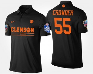 Clemson Tigers Tyrone Crowder Polo Black #55 Men's Atlantic Coast Conference Sugar Bowl Bowl Game