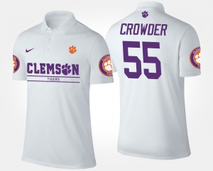Clemson Tigers Tyrone Crowder Polo For Men's White #55