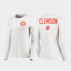 Clemson Tigers T-Shirt White For Men's Statement Long Sleeve Rivalry