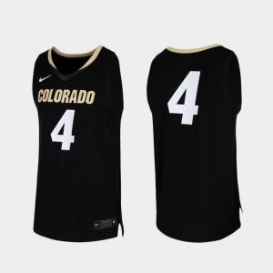 Colorado Buffaloes Jersey College Basketball Replica For Men's #4 Black