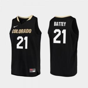 Colorado Buffaloes Evan Battey Jersey Replica Black College Basketball #21 Men
