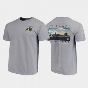 Colorado Buffaloes T-Shirt Campus Scenery For Men Gray Comfort Colors