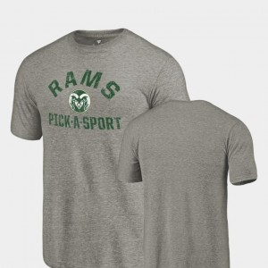 Colorado Buffaloes T-Shirt Tri-Blend Distressed Pick-A-Sport For Men's Gray