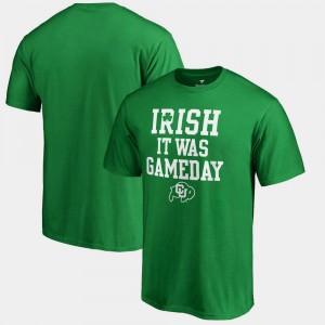 Colorado Buffaloes T-Shirt St. Patrick's Day Men Kelly Green Irish It Was Gameday