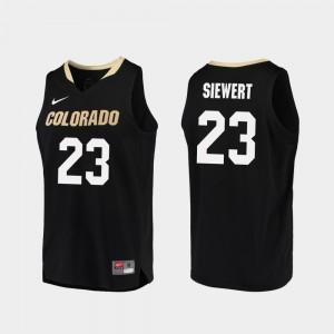 Colorado Buffaloes Lucas Siewert Jersey College Basketball #23 Black Men's Replica
