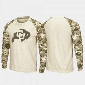 Colorado Buffaloes T-Shirt OHT Military Appreciation Men Oatmeal Raglan Long Sleeve