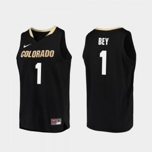 Colorado Buffaloes Tyler Bey Jersey College Basketball Mens Black Replica #1