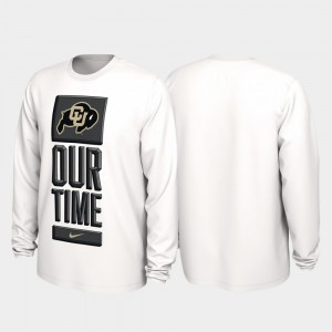Colorado Buffaloes T-Shirt 2020 March Madness Mens Our Time Bench Legend White