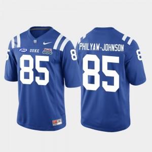 Duke Blue Devils Damond Philyaw-Johnson Jersey College Football Game Mens Royal #85 2018 Independence Bowl