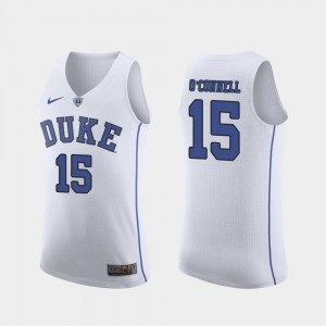 Duke Blue Devils Alex O'Connell Jersey Authentic Mens White March Madness College Basketball #15