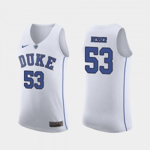 Duke Blue Devils Brennan Besser Jersey March Madness College Basketball #53 White For Men Authentic