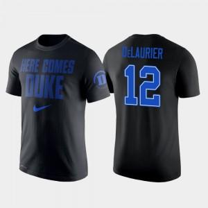 Duke Blue Devils Javin DeLaurier T-Shirt #12 For Men College Basketball 2 Hit Performance Black