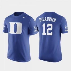 Duke Blue Devils Javin DeLaurier T-Shirt Royal Basketball Replica #12 For Men Future Stars